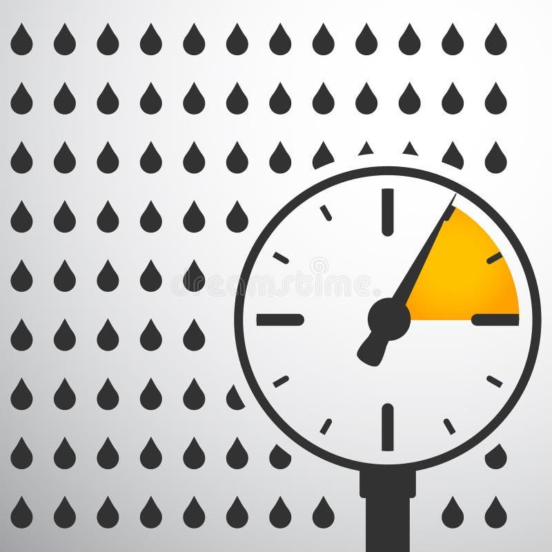 Barometer, drukmaat met waterdalingen royalty-vrije illustratie