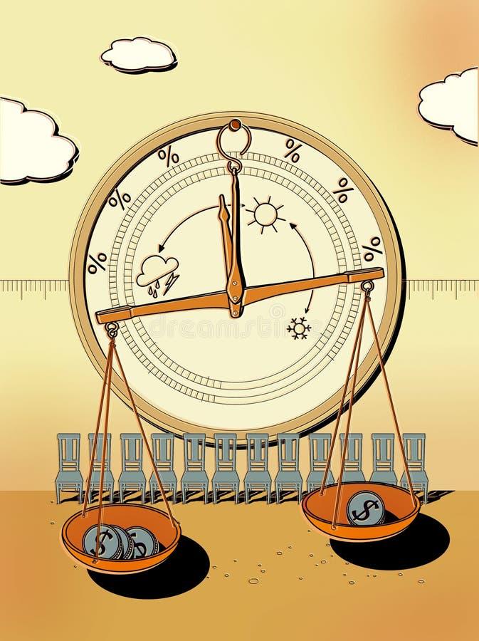 Barometer für das Geschäft - klar, bewölkt, Hurrikan Apothekenskalen mit Dollarmünzen in den Schalen Stühle Investitionswetter vektor abbildung