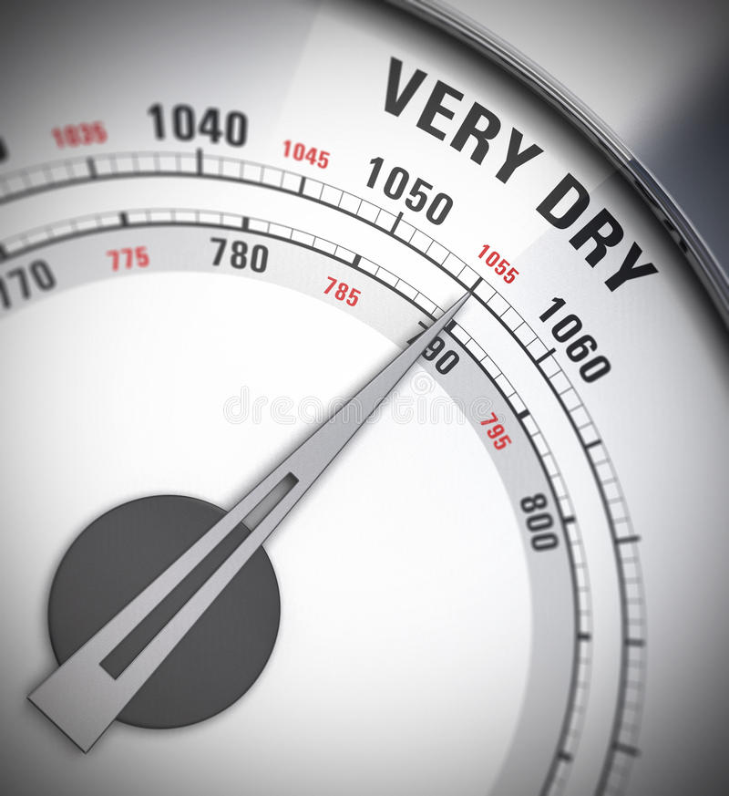 Barometer, hittegolf stock illustratie