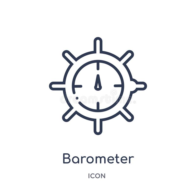 Barometer icon from nautical outline collection. Thin line barometer icon isolated on white background. Icon stock illustration