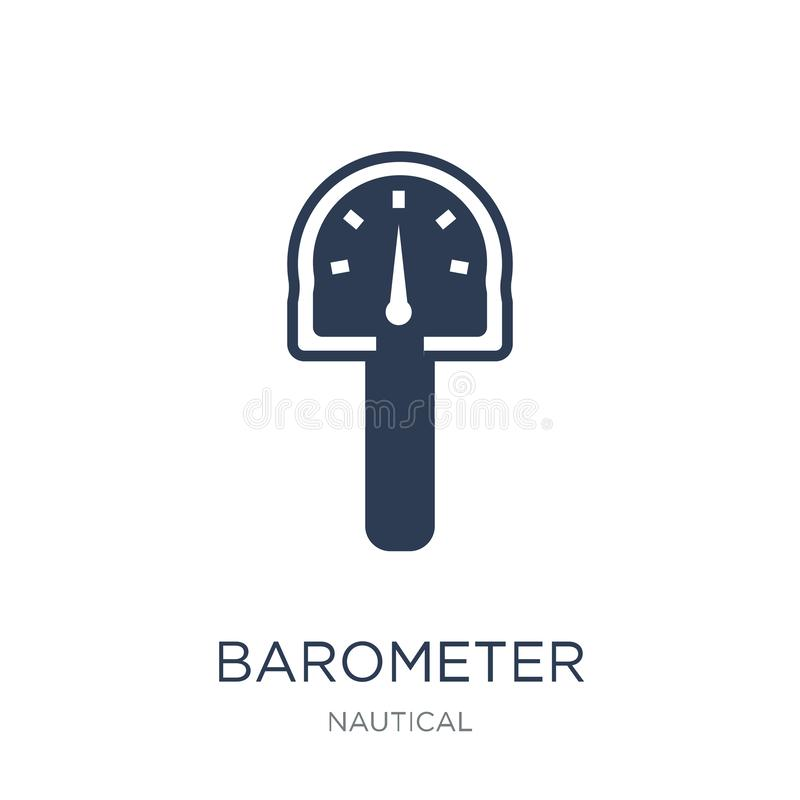 Barometer icon. Trendy flat vector Barometer icon on white background from Nautical collection. Vector illustration can be use for web and mobile, eps10 stock illustration