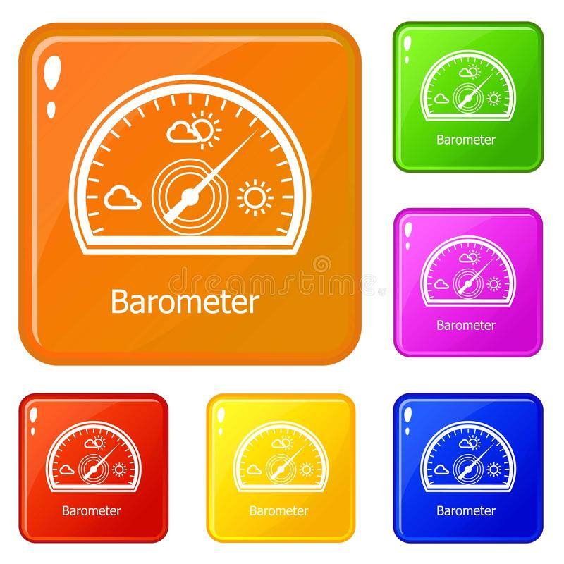 Barometer icons set vector color. Barometer icons set collection vector 6 color isolated on white background vector illustration
