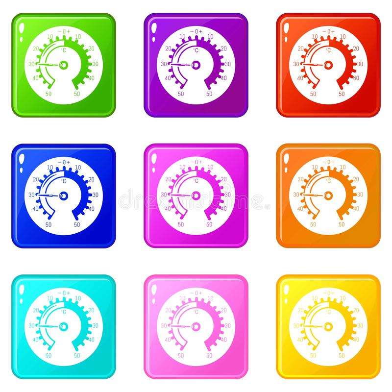 Barometer icons set 9 color collection. Isolated on white for any design royalty free illustration