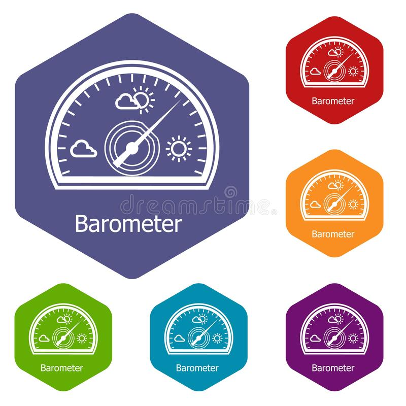 Barometer icons vector hexahedron. Barometer icons vector colorful hexahedron set collection isolated on white stock illustration