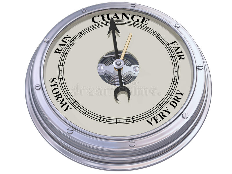 Barometer indicating change. Isolated illustration of a barometer indicating changing conditions vector illustration