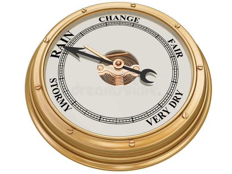 Barometer indicating rain. Isolated illustration of a barometer indicating persistent rain royalty free illustration