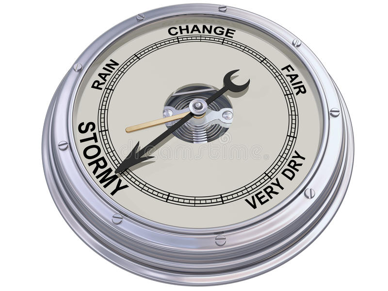 Barometer indicating stormy weather. Isolated illustration of a barometer indicating an ominous storm vector illustration
