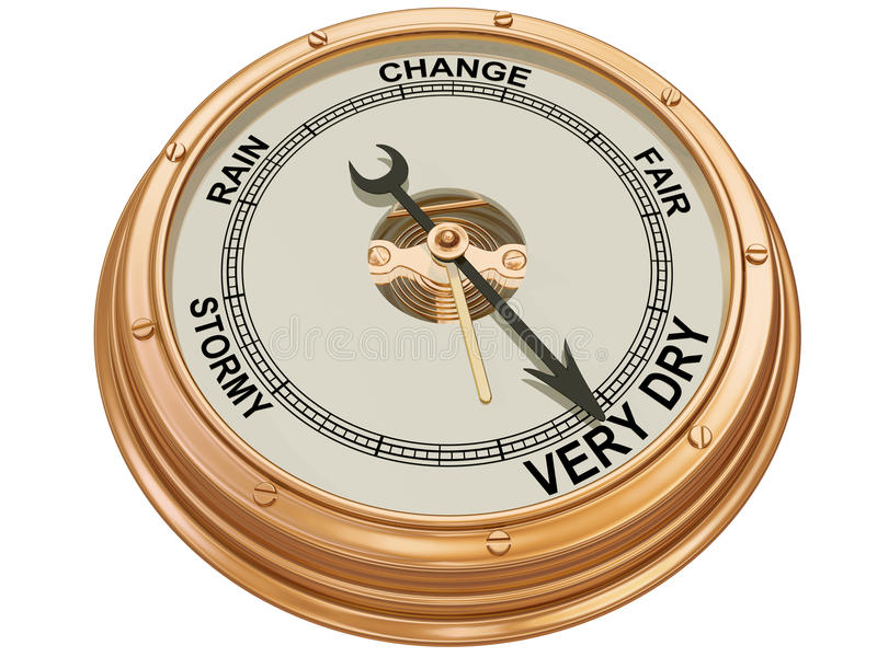 Barometer indicating very dry weather. Isolated illustration of a barometer indicating very dry conditions vector illustration