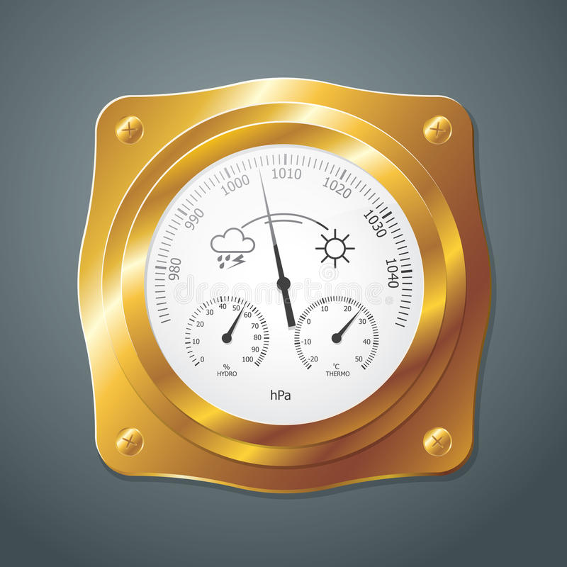 Barometer instrument, with scales for measuring air temperature. And air humidity. Vector Illustration. Barometer with golden frame royalty free illustration