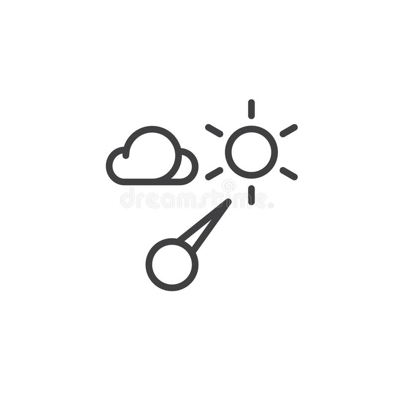Barometer line icon. Outline vector sign, linear style pictogram isolated on white. Symbol, logo illustration. Editable stroke stock illustration