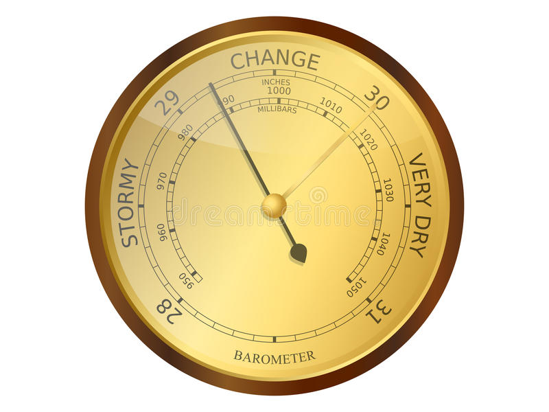 Barometer. Old brass and wooden barometer vector illustration royalty free illustration