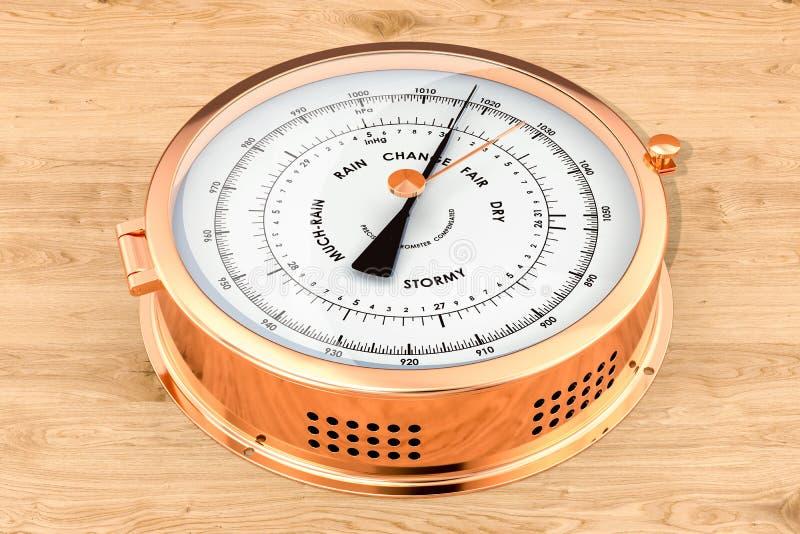 Barometer op de houten achtergrond, het 3D teruggeven stock illustratie
