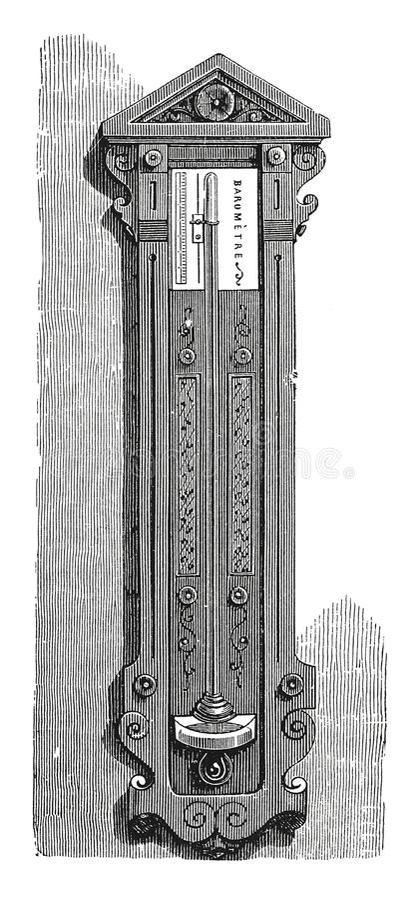 Barometer op een tribune antieke gravure stock illustratie