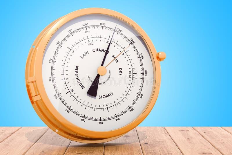 Barometer op het houten bureau, het 3D teruggeven stock illustratie