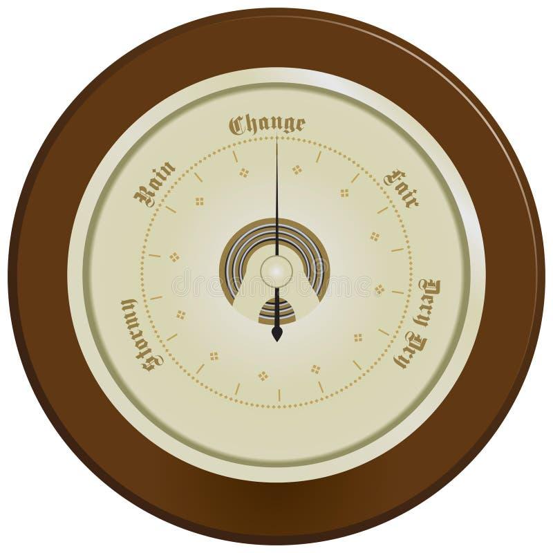 Barometer på mörkt trä royaltyfri illustrationer