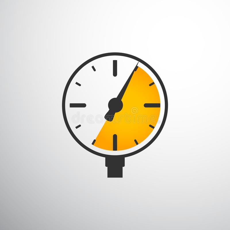 Barometer, pressure gauge. Black and yellow on light background vector illustration