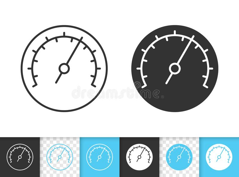 Barometer simple black line vector icon. Barometer black linear and silhouette icons. Thin line sign of meter. Speedometer outline pictogram isolated on white royalty free illustration