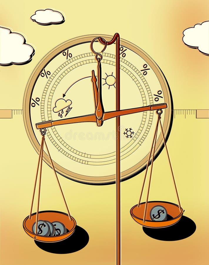 Barometer voor duidelijke zaken -, donker, orkaan Apotheekschalen met dollarmuntstukken in koppen Investeringsweer vector illustratie