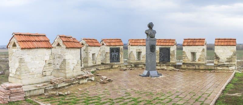 Baron Munchausen-monument in Buigmachine, Moldavië stock afbeelding