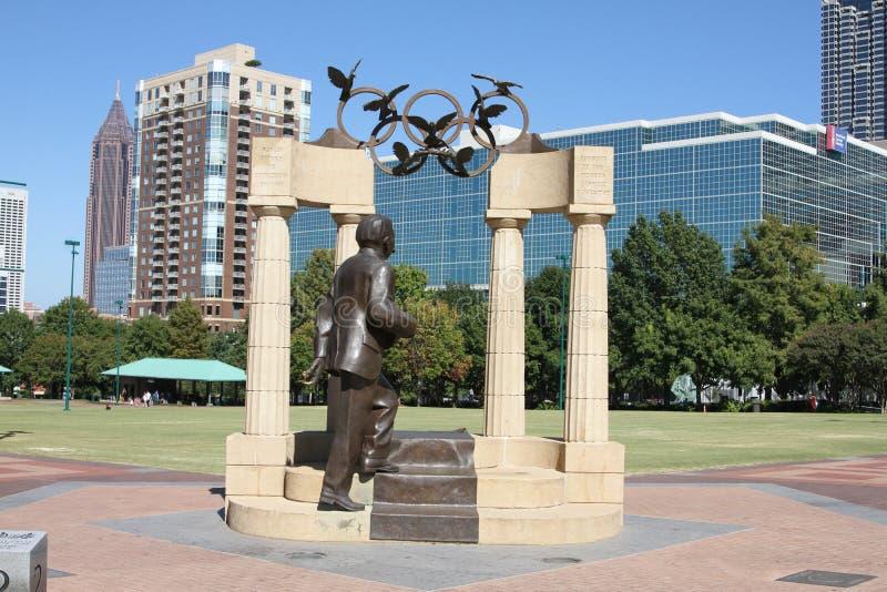 Baron Pierre de Coubertin Statue fotografie stock libere da diritti
