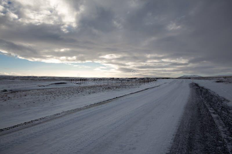 Baron Snow Covered Road fotografia stock libera da diritti