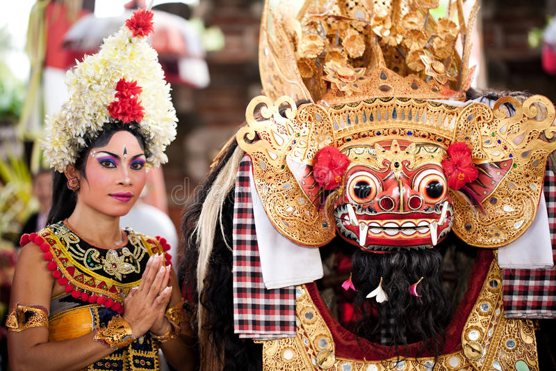 Barond and dancer after the perfomance. BATUBULAN, BALI, INDONESIA- JUNE 23: Barong Dance, the traditional balinese perfomance on June 23, 2011 in Batubulan royalty free stock images