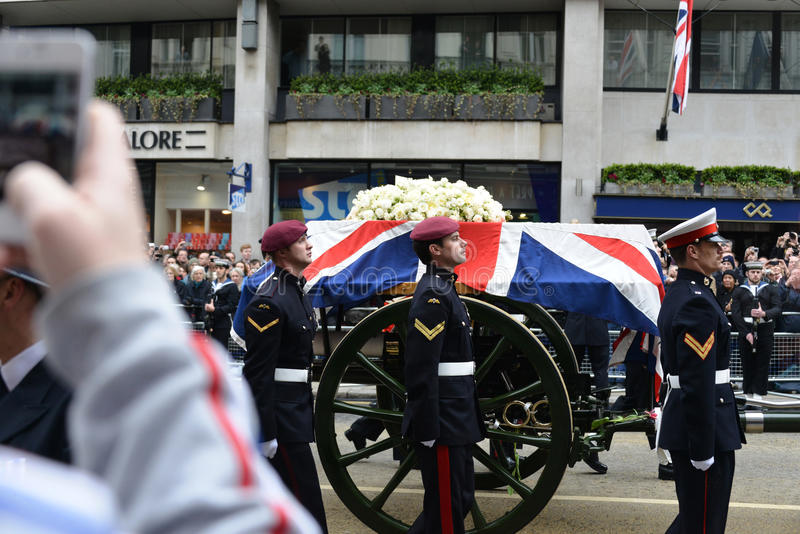 Baroness Thatcher's funeral stock image
