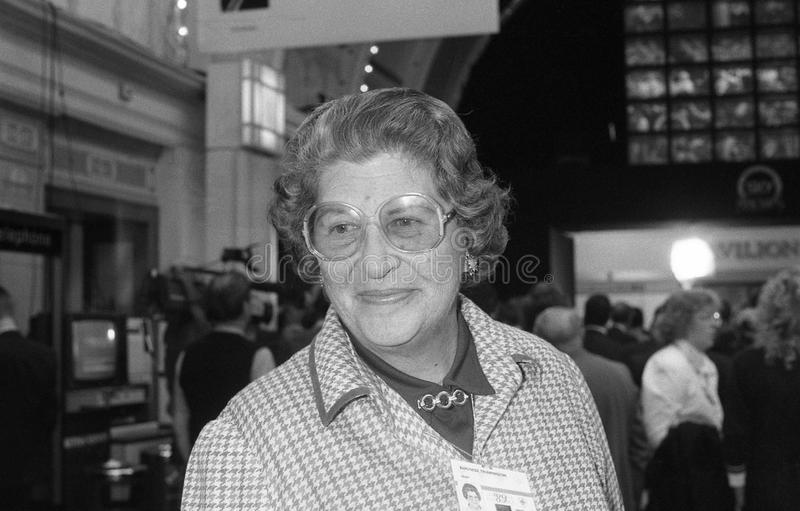 Baroness Trumpington. Conservative party Member of the House of Lords, visits the party conference in Blackpool on October 10, 1989 stock image
