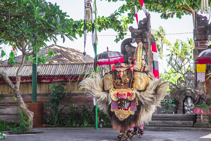 Barong dance. Barong, is character of Classic national Balinese dance Barong stock image