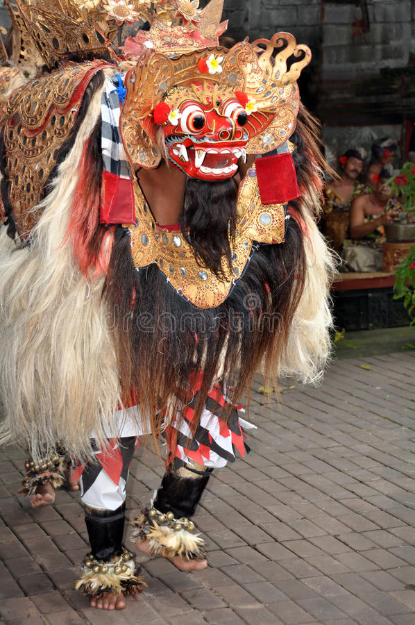 Barong Lion Character Dances On Stage, Bali Indonesia fotografia stock