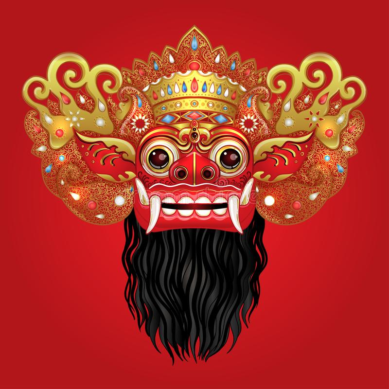 Barong. Traditional ritual Balinese mask. Vector color illustrat royalty free illustration