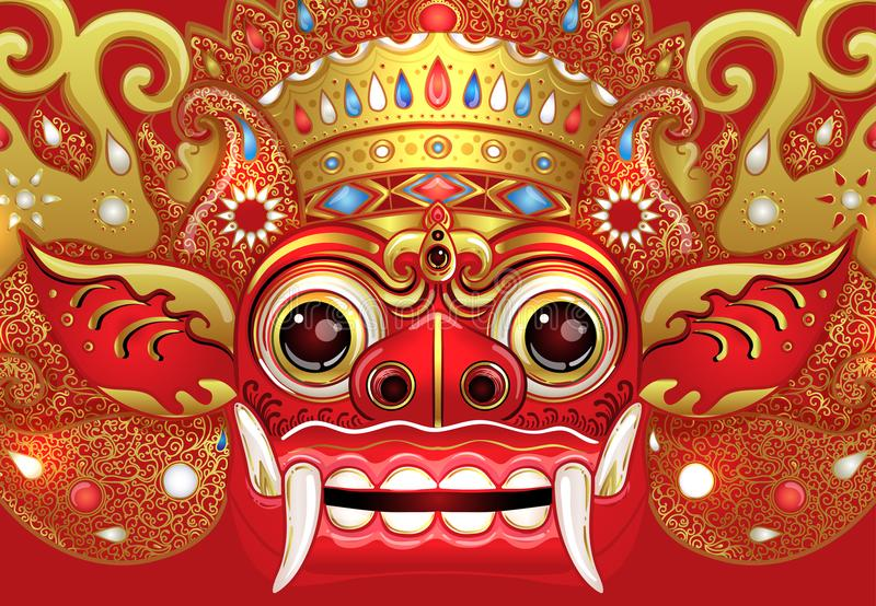 Barong. Traditional ritual Balinese mask. Vector color illustrat vector illustration