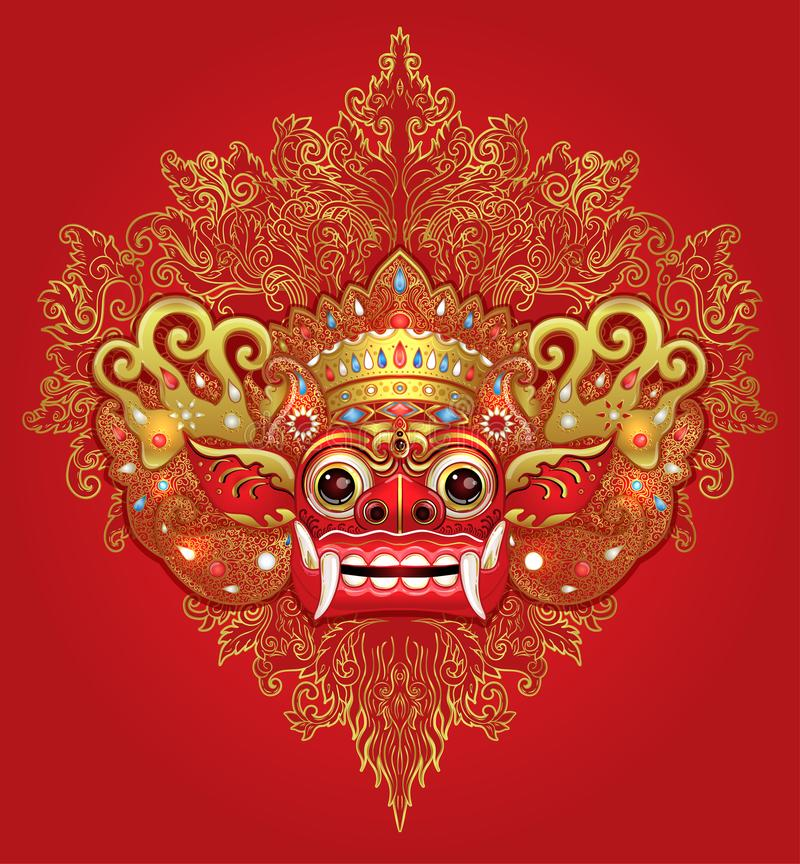 Barong. Traditional ritual Balinese mask. Vector color illustration in red, gold and black isolated. Hindu ethnic symbol, tattoo vector illustration