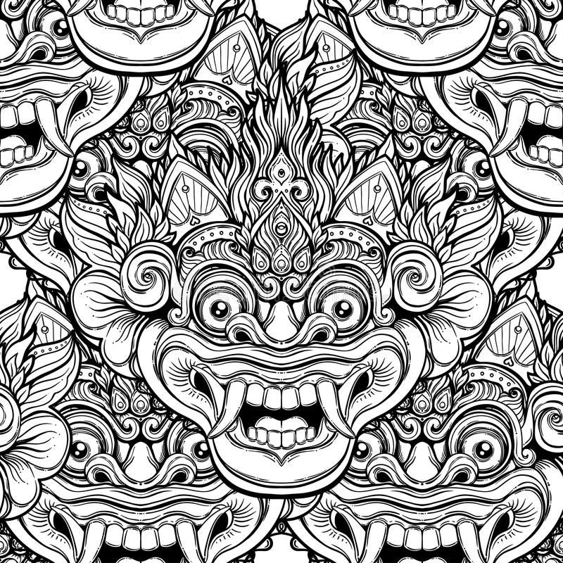 Barong. Traditional ritual Balinese mask. Vector decorative ornate outline black and white seamless pattern. Hindu ethnic royalty free illustration