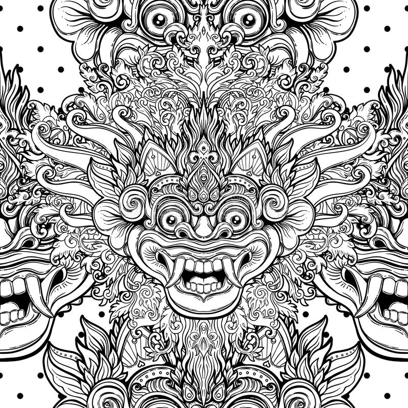 Barong. Traditional ritual Balinese mask. Vector decorative ornate outline black and white seamless pattern. Hindu ethnic vector illustration
