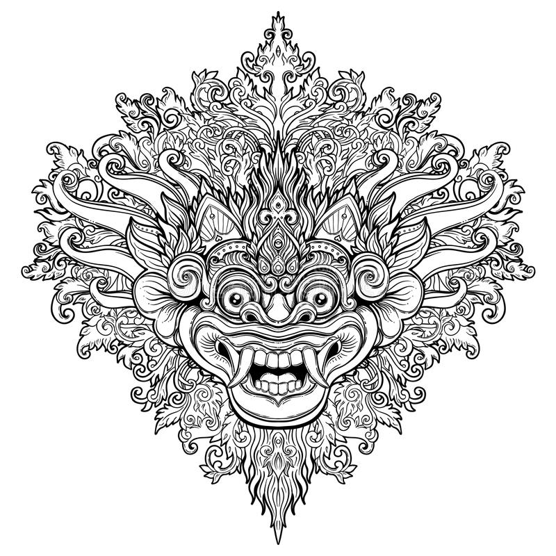 Barong. Traditional ritual Balinese mask. Vector decorative ornate outline illustration isolated. Hindu ethnic symbol, tattoo art royalty free illustration