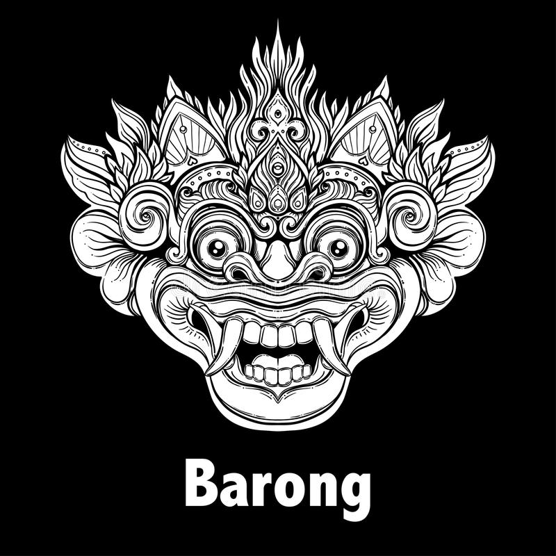 Barong Traditional Ritual Balinese Mask Vector Decorative