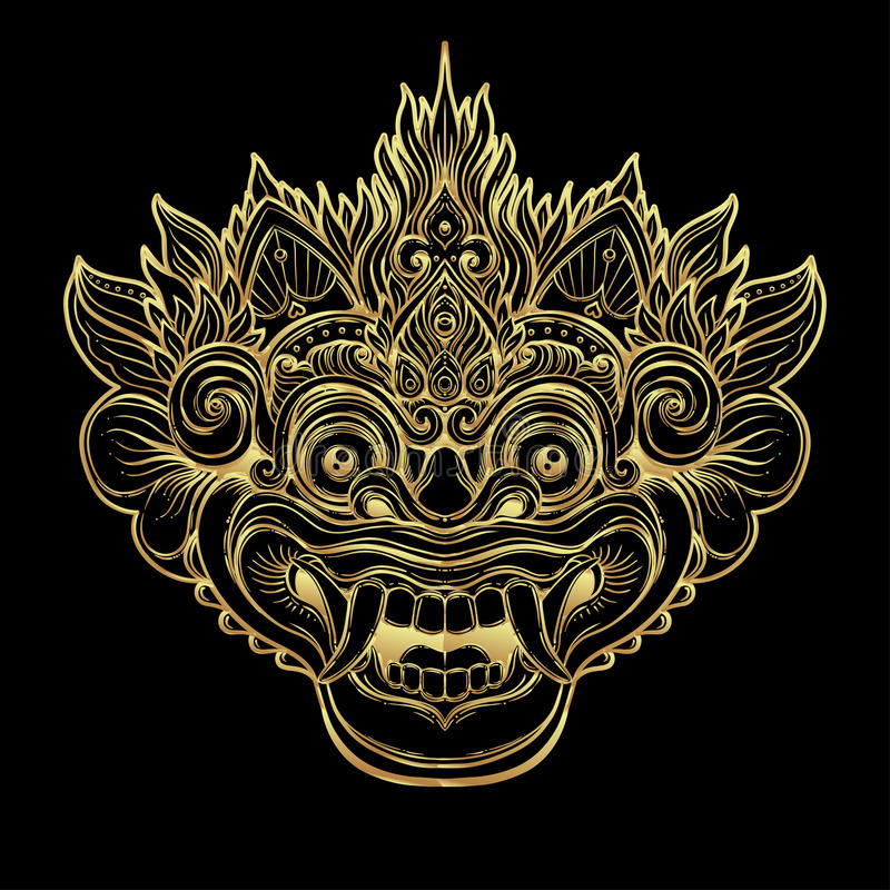 Barong. Traditional ritual Balinese mask. Vector decorative ornate outline illustration isolated. Hindu ethnic symbol, tattoo art. Yoga, Bali spiritual design vector illustration