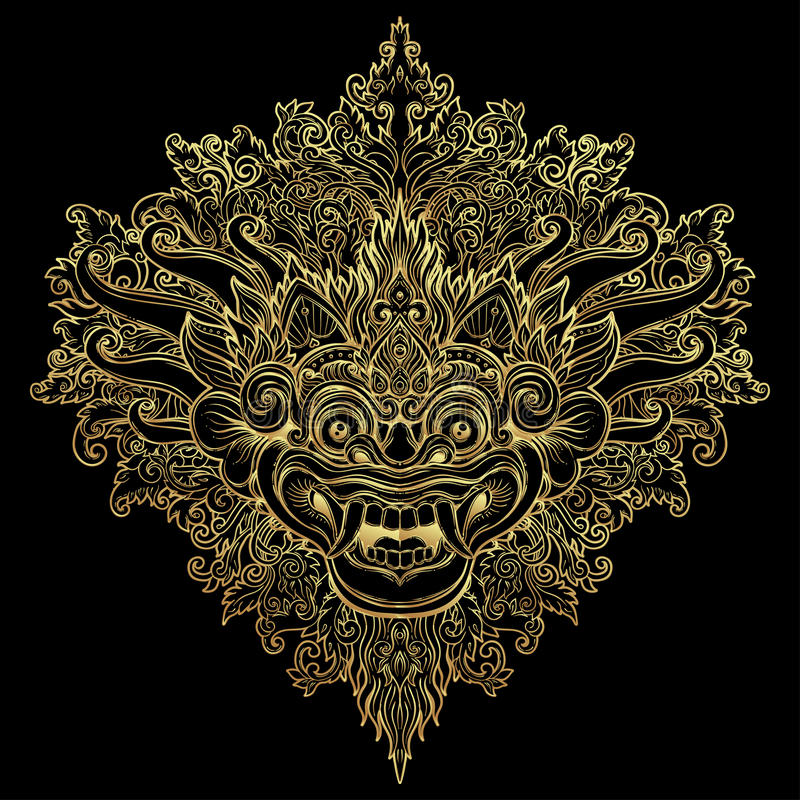Barong. Traditional ritual Balinese mask. Vector decorative ornate outline illustration isolated. Hindu ethnic symbol, tattoo art. Yoga, Bali spiritual design royalty free illustration