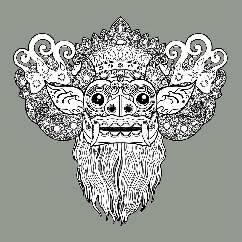 Barong. Traditional ritual Balinese mask. Vector decorative ornate outline illustration isolated. Hindu ethnic symbol, tattoo art vector illustration
