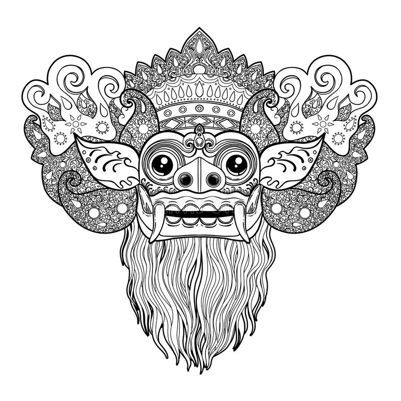 Barong. Traditional ritual Balinese mask. Vector outline illustr stock illustration