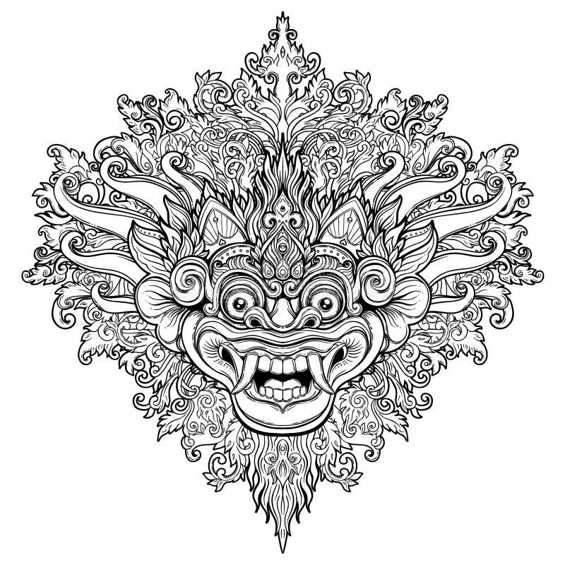 Barong Traditioneel ritueel Balinees masker Vector decoratieve orna royalty-vrije illustratie