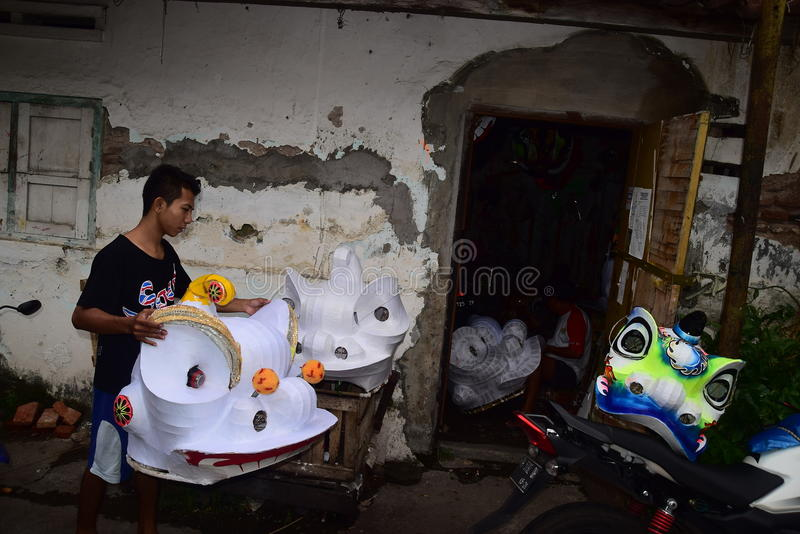Barongsay maker. Sutikno lion dance makers in Semarang, Central Java, January 18, 2015, flooded with orders ahead of the Chinese New Year celebration or Imlek royalty free stock photos