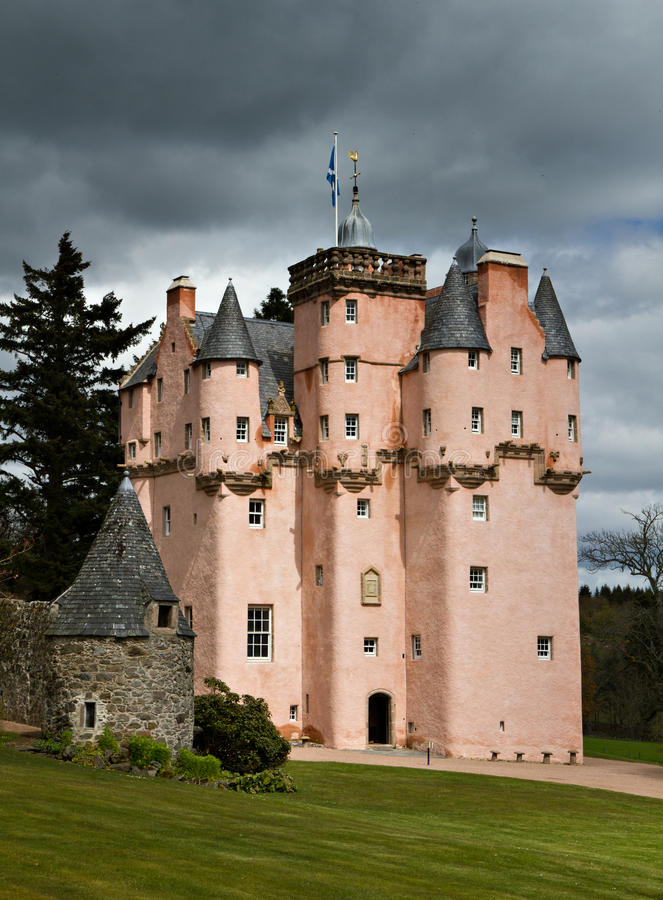 Baronial Craigievar Castle. In Pink, Scotland, United Kingdom royalty free stock images