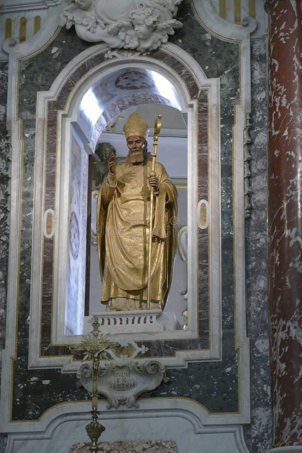 Baroque altar of Church of St. Martin. MARTINA FRANCA, ITALY - APR 10, 2019 - Baroque altar of Church of St. Martin,Martina Franca, Puglia, Italy royalty free stock photography