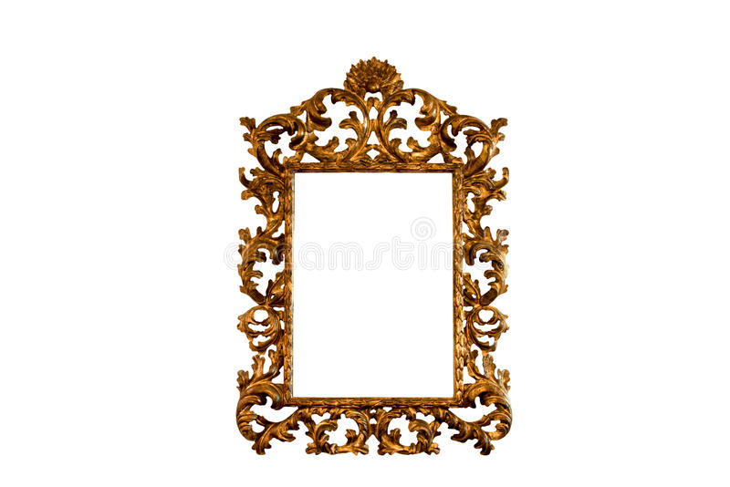 Baroque basswood gold mirror frame. Antique italian baroque authentic carved basswood mirror frame in gold leaf isolated on white background royalty free stock photography