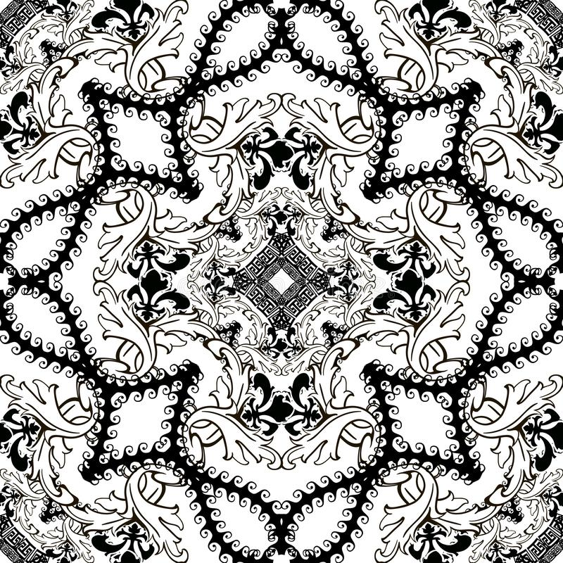 Baroque black and white floral vector seamless pattern. Ethnic arabesque style ornamental background. Ancient greek key meanders. stock illustration