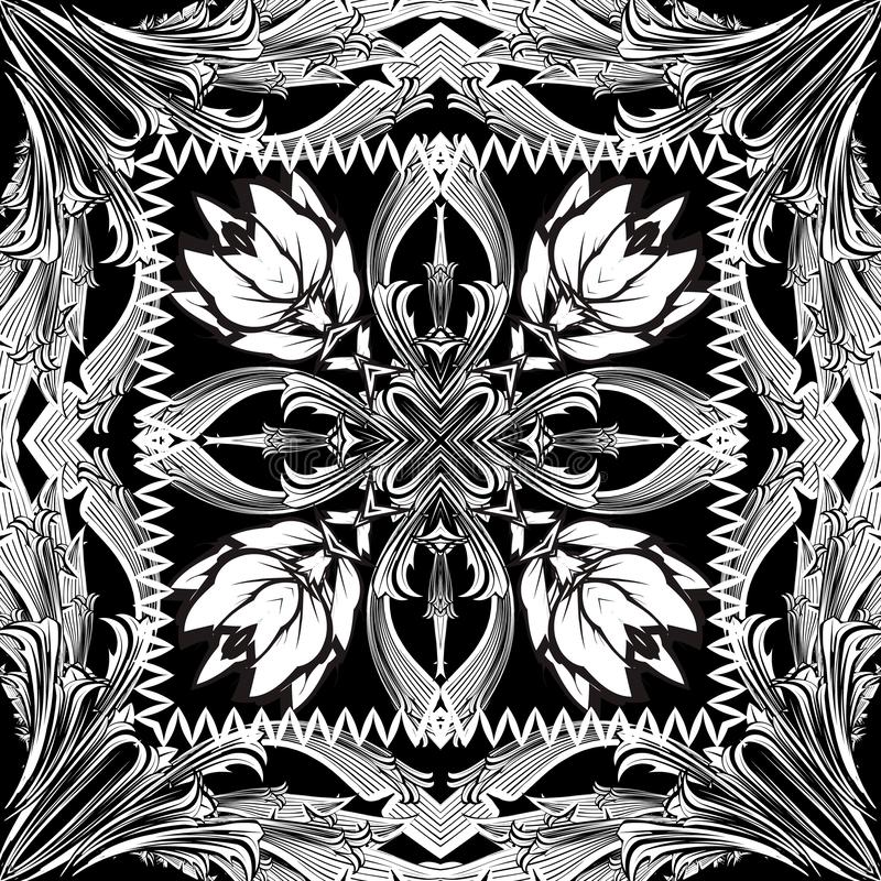 Baroque black and white seamless pattern. Monochrome floral background. Patterned repeat backdrop. Vector illustration vector illustration