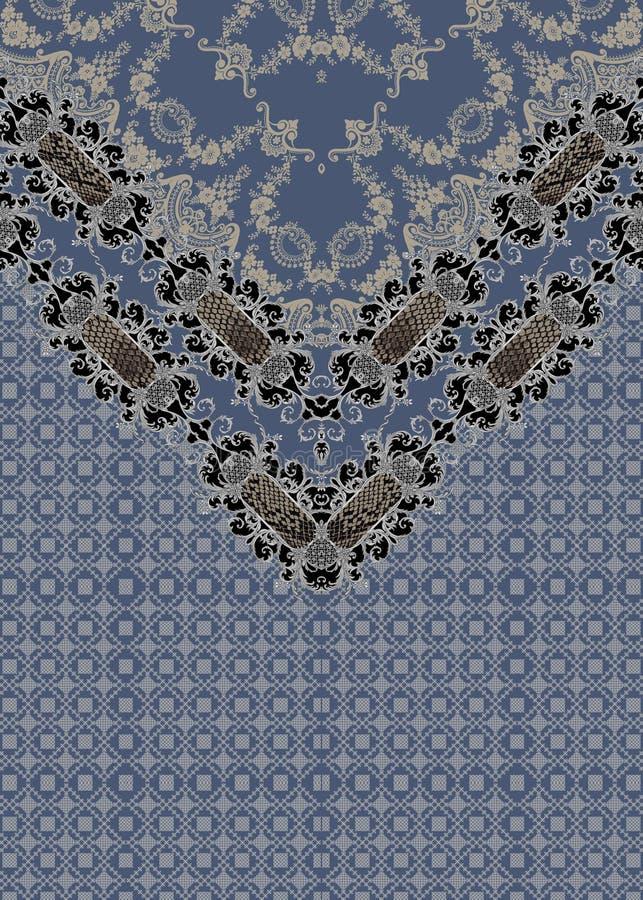 Baroque blue design baroque geometric lines vector illustration