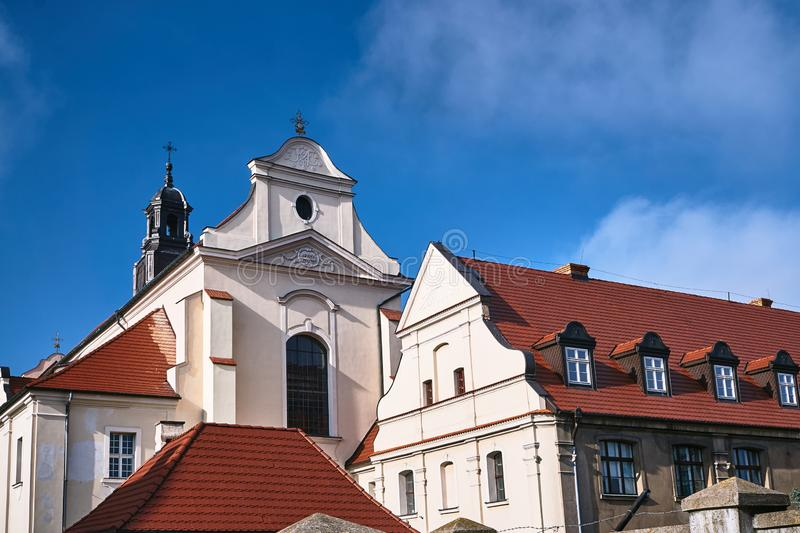 Baroque buildings of the church and monastery. In Gniezno stock photography